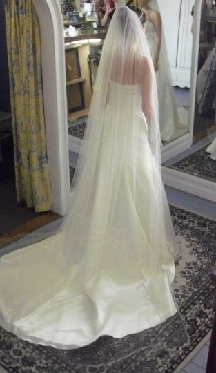 custom made veil with scalloped beaded edge