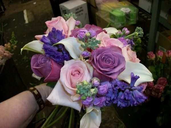 Shades of lavenders, purples to pinks..... Mini callas, stock, hyacinth, roses.