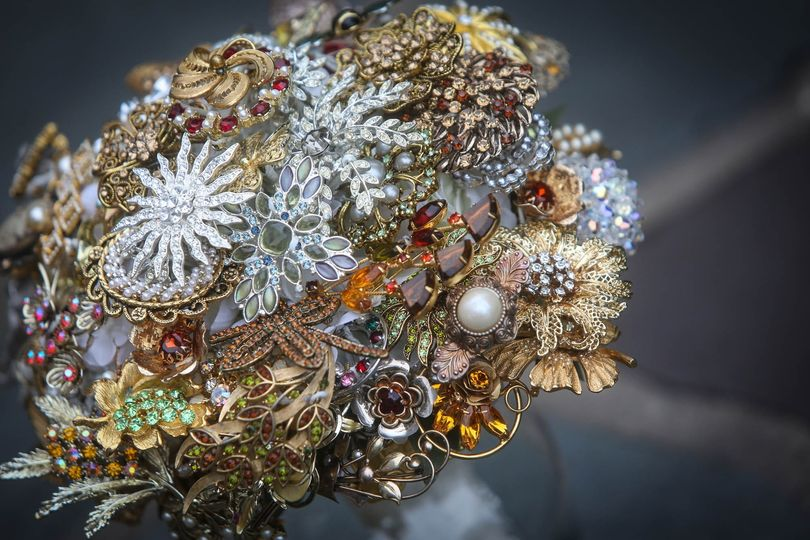 A wonderful, shimmering bouquet made from a collection of the Bride's antique broaches!