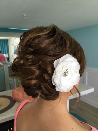 Updo with floral clip