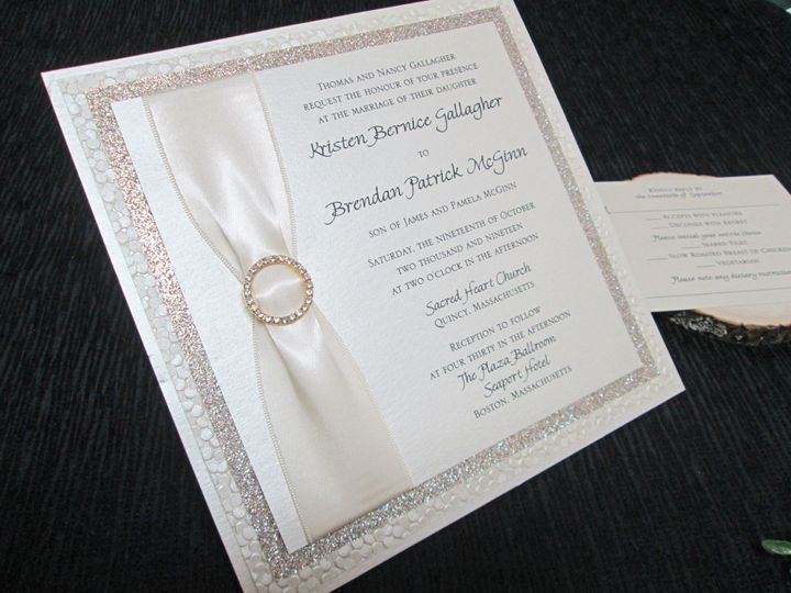 4 layer invitation with ribbon