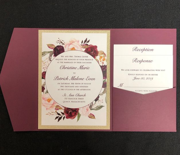 Burgundy pocket invite