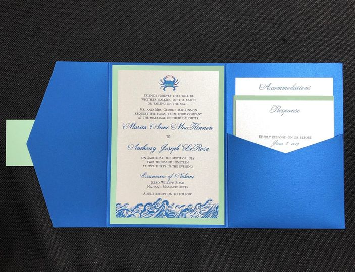 Nautical pocket fold invite