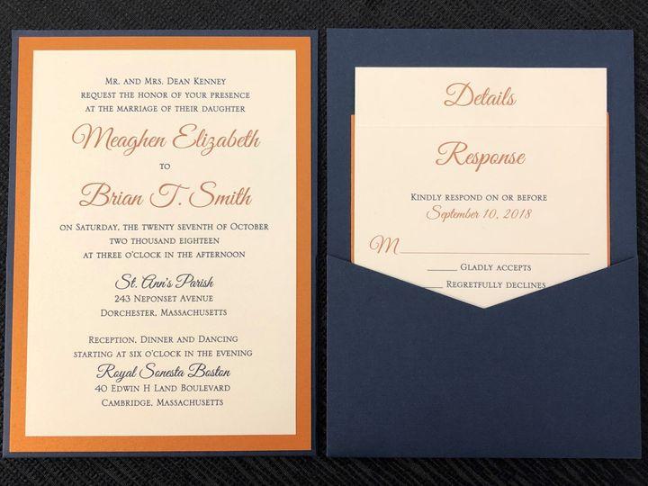 Tmx Kenney Pocket Card 10 27 18 51 108208 Quincy, MA wedding invitation
