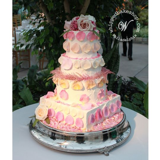candied rose wedding cake
