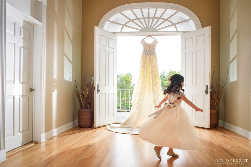 Flower girl and bridal dress