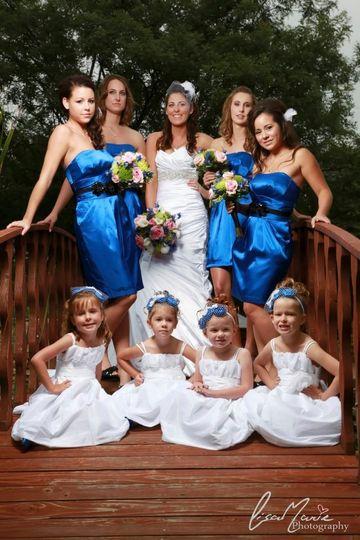 Bride, bridesmaids, flower girls