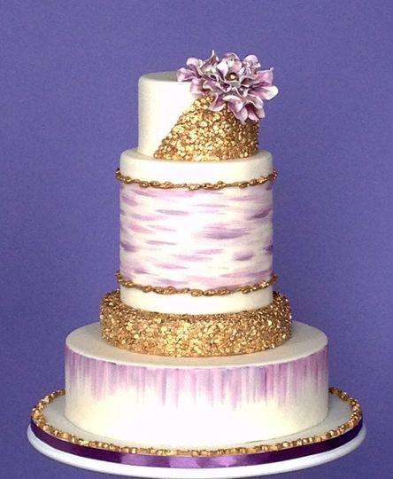 gold sequin wedding cake 2015