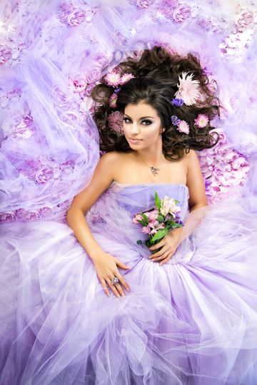 Purple bed of flowers