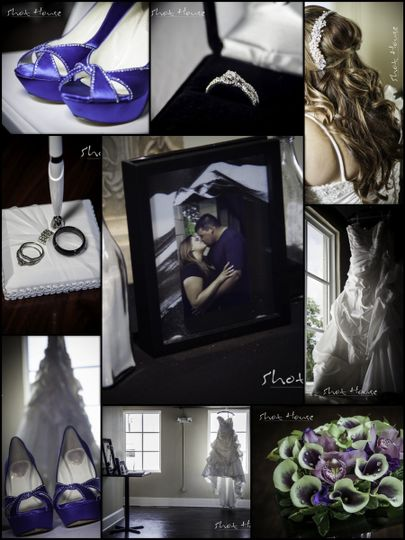 Collage of a wedding ring, bride's hair, blue shoes, and bouquet