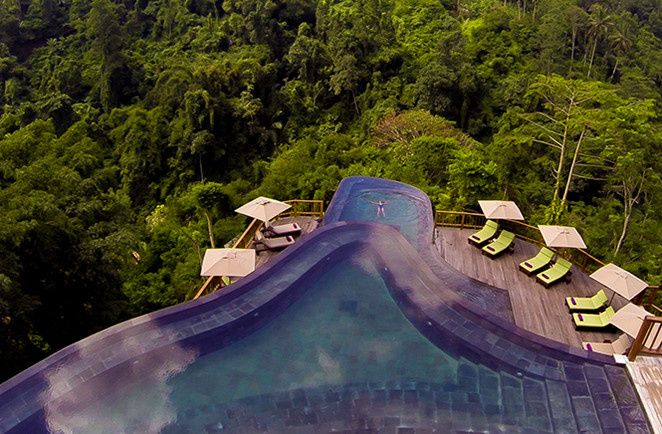 twin tiered main pools at hanging gardens ubud bal