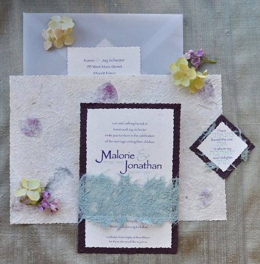 Handmade rose petal and fern wrap with moss paper lace belt and milkweed cardstock, aubergine ink