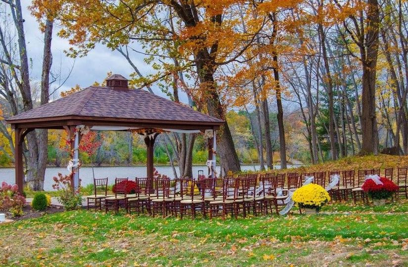 Riverfront wedding setup