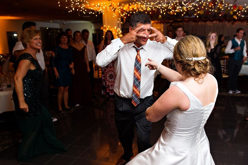 Newlyweds being silly