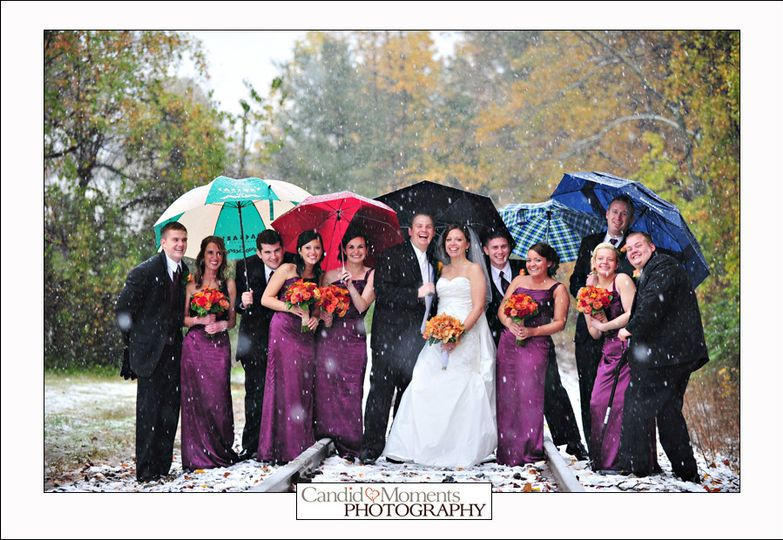 bridal party on train track