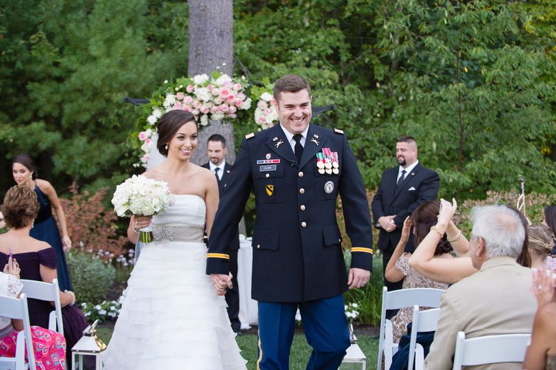 Couple walking after ceremony