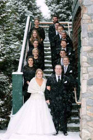 Newlyweds and their guests in the snow