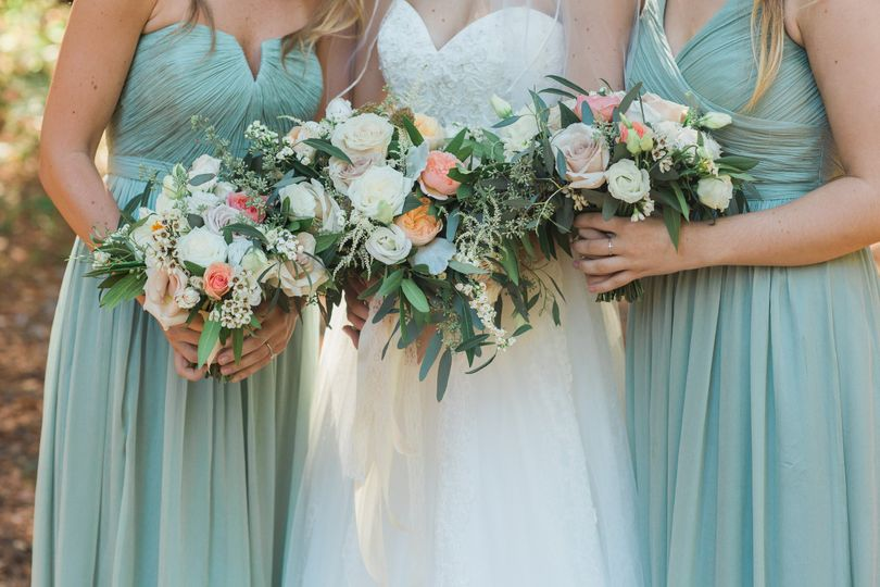 Bouquets for the bride and her bridesmaids