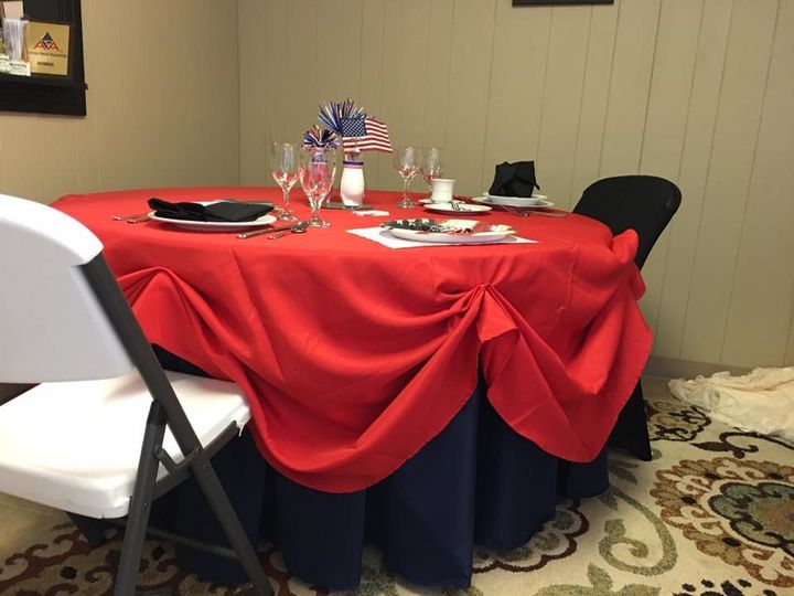 Round table with red and blue table linens