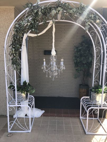 Arch with chandelier