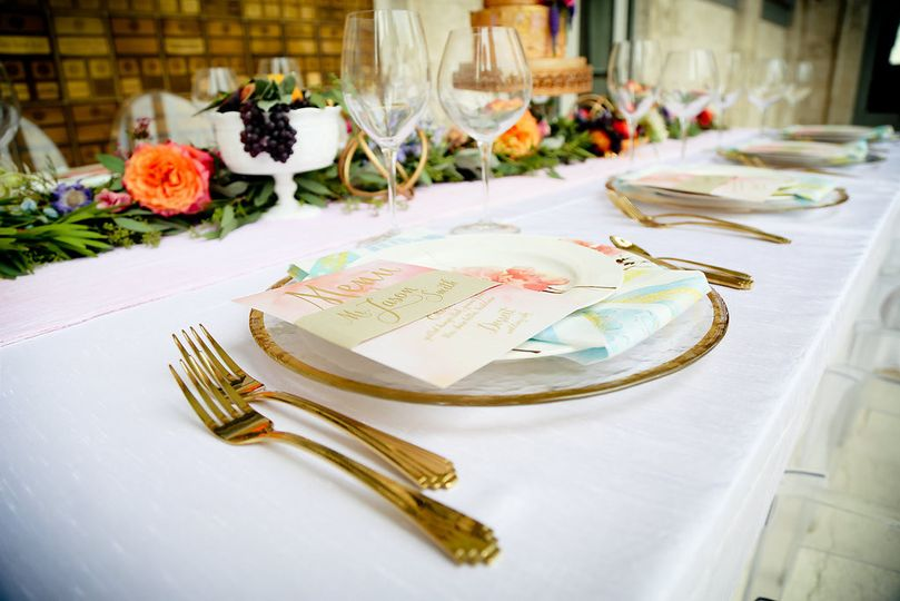 Gold cutlery and table decor