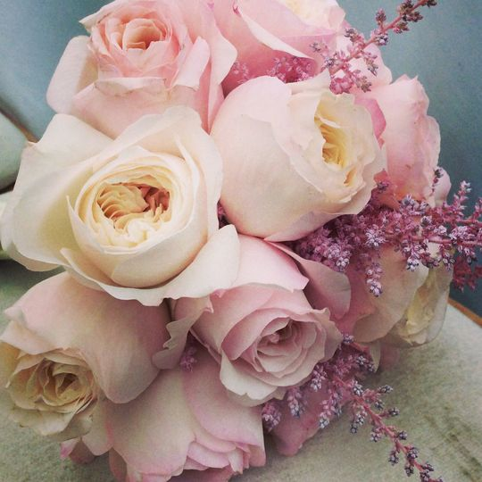 garden roses and soft astilbe bridal bouquet