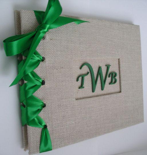 burlap guestbook emerald photo 1