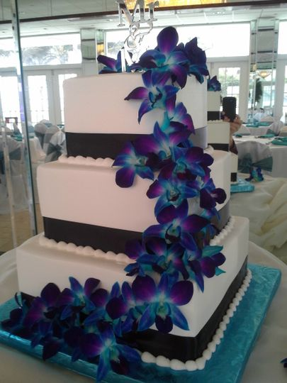 Square design with electric blue orchids cascading