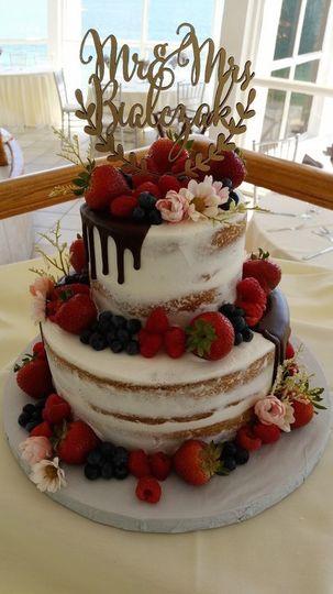 Mixed berry naked wedding cake