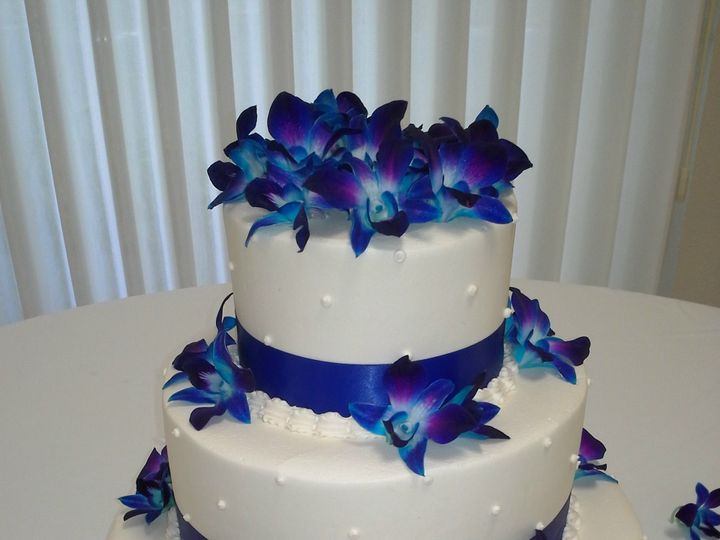 Tmx 1477613372 369d3b7f96aa2f1e Electric Blue Orchid Cake With Dotted Swiss Design Saint Petersburg, Florida wedding cake