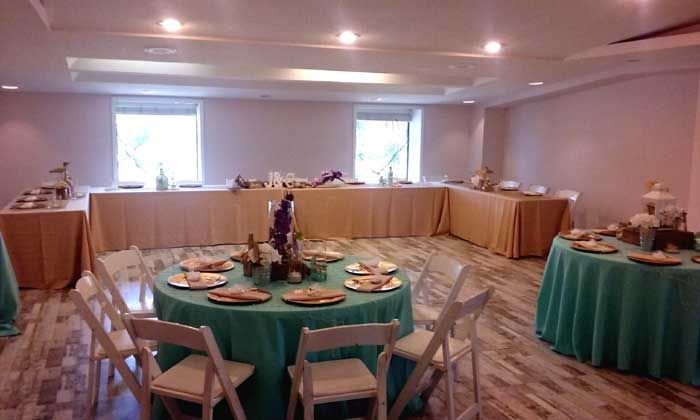The emerald Coast ball room can hold 150 people. And can be arranged anyway you would like,