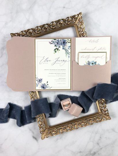 Floral Pocket Folder Invites