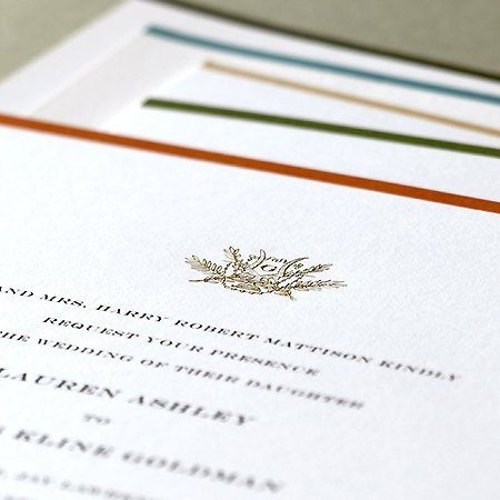 Engraved invitation with your choice of color stripe, monogram or motif.