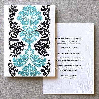 Letterpress Cornucopia pattern on back of invitation