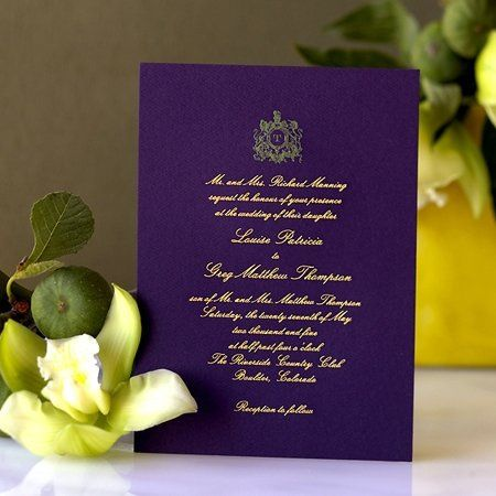 Engraved Classic Shield invitation with custom calligraphy text.