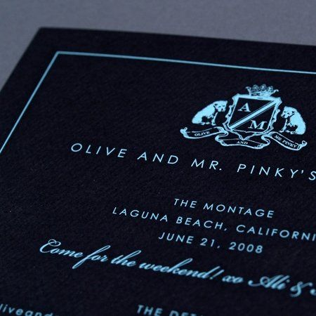 Engraved Classic Shield Invitation on Eggplant paper stock with Green Shield and yellow script text.