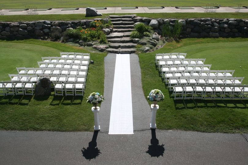 Aerial view of the wedding space