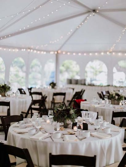 Reception tent - round tables