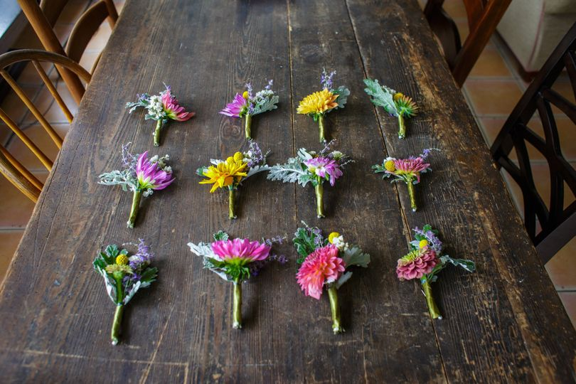 Boutonnieres made by maya for an august wedding with 100% hillen homestead flowers. Photo by julie...