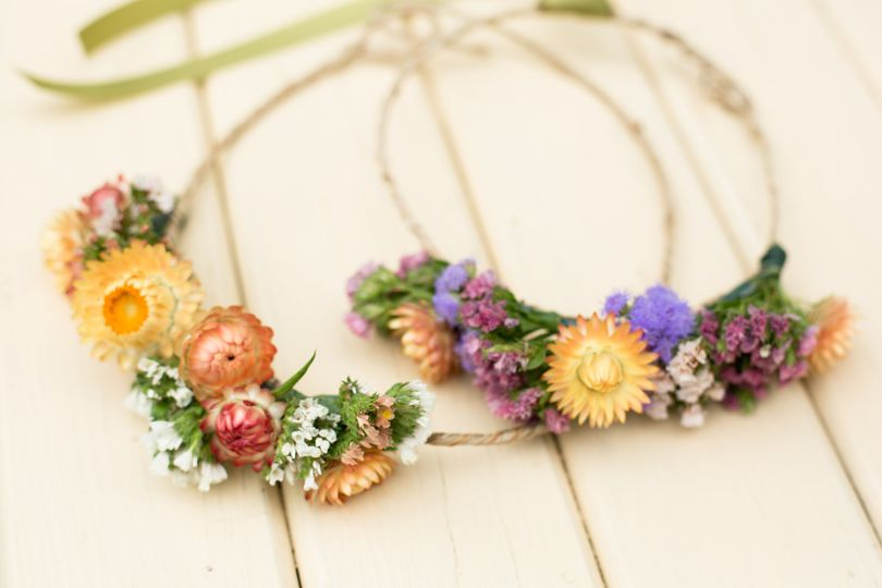 Flower crowns made by maya for a july wedding with 100% hillen homestead flowers. Photo by jamie...