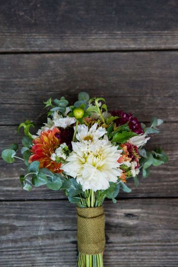 Bridal bouquet made by Maya for an August wedding using 100% Hillen Homestead flowers. Photo by...