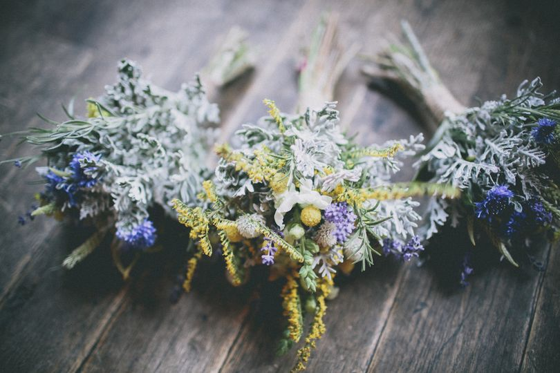 Bouquets created by maya for a september wedding using 100% hillen homestead flowers. Photo by luke...