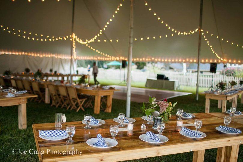 60' x 70' wedding tent with café lights