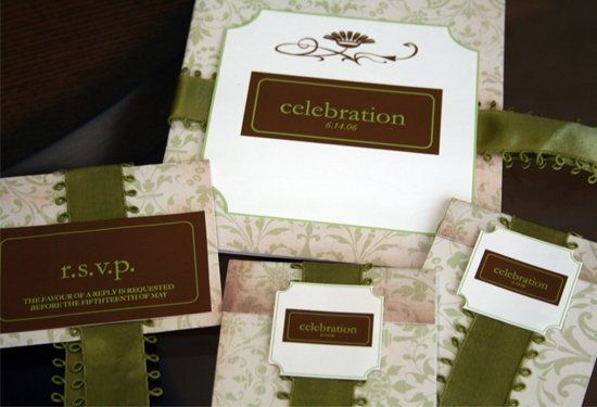 Beautifully detailed square invitation with olive and brown color tones and rich damask design....