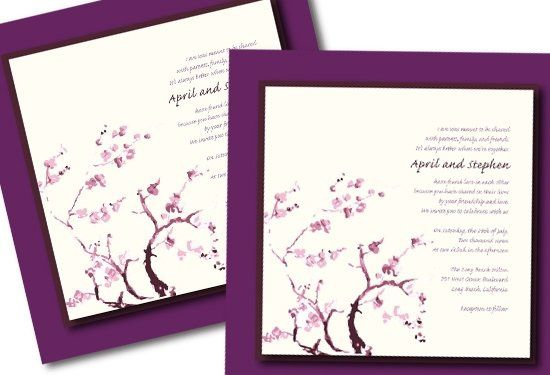 Add the feeling of art to your invitations. These cherry blossom invitations were printed on canvas...