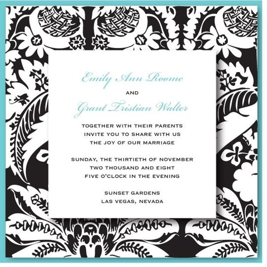 Add the sophistication of a damask design to the fun colors of a tropical invitation. This design is...