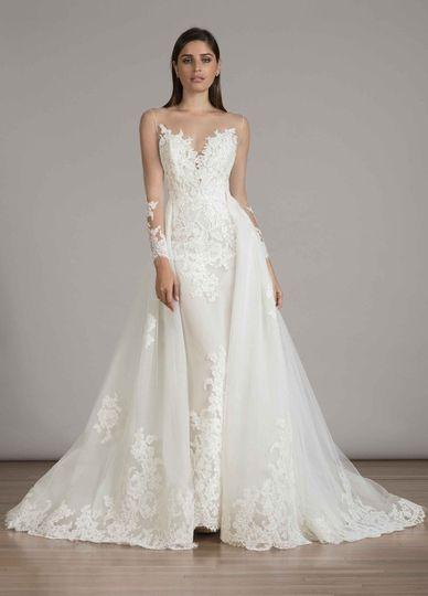 LIANCARLO Lace gown with illusion neck and long sleeves with full overskirt with lace detail
