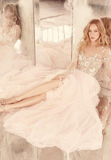 Hayley Paige Remmington gown with illusion embroidered bodice and long sleeves