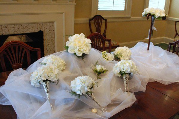 Bouquets await the bride and her maids in the bridal room