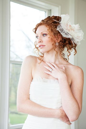 Bride looking out the windows